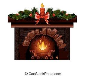 tanne, decoration., baum, abbildung, vektor, kaminofen, weihnachten