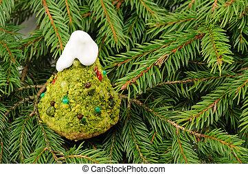 tanne, geformt, kuchen, für, weihnachten
