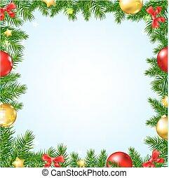 tanne, umrandungen, baum, weihnachten, sternen