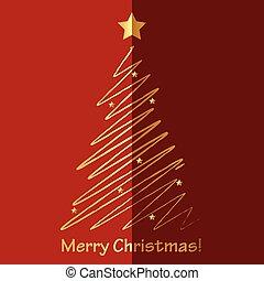 tanne, vektor, frohe weihnacht, karte