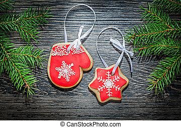 tanne, zweig, weihnachten, lebkuchen, auf, holz, brett