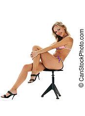 tanned blonde in bikini