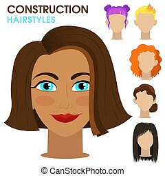 Tanned girl. Woman face constructor. Cartoon style.