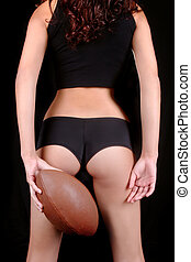 Tanned Sexy Young Woman With a Football - Sexy Young Woman...