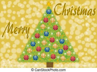 Tannenbaum mit Christbaumkugeln - Merry Christmas mit...