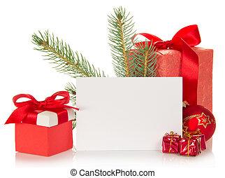 tannenbaum, zweig, weihnachten, spielzeug, geschenk boxt, und, der, leerer , karte