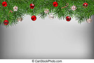 tannenzweige, bedeckt, mit, schnee, und, dekoriert, mit, weihnachtsbaubles