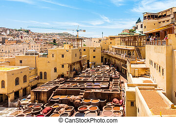 Tannery in Fez, Fes el Bali, Morocco, Africa
