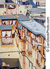 Tannery in Fez, Morocco - View to the tannery in Fez old...