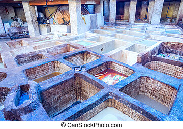 Tannery pools, Fez - Tannery pools for leather production,...