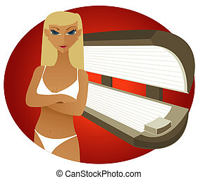 Tanning Bed - Blonde - Blonde woman in a bikini at an indoor...