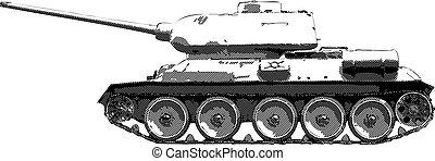 tanque, -, 34, vector, t, ruso, dibujo