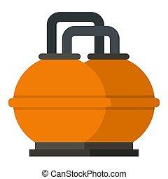 tanque, almacenamiento, aislado, naranja, combustible, icono