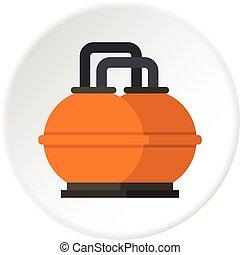 tanque, almacenamiento, naranja, combustible, círculo, icono