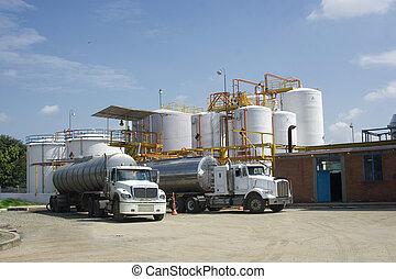 tanque armazenamento, caminhão, químico, petroleiro