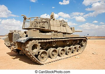 tanque, base, viejo, desierto, magach, militar, israelí