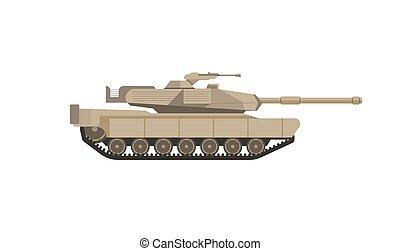 tanque, canhão, isolado, ilustração, maciço, grande, militar