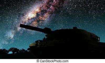 tanque, e, meio leitoso, estrelas, em, night., elementos, de, este, imagem, fornecido, por, nasa