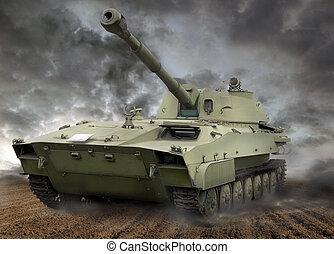 tanque, en acción