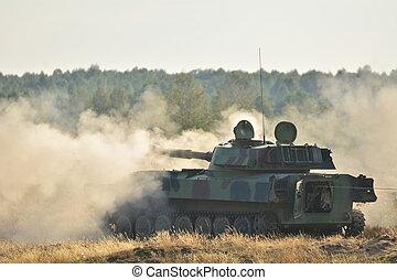 tanque, -, militar