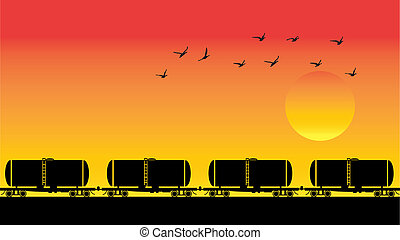 tanque, pôr do sol, pássaros, vagões