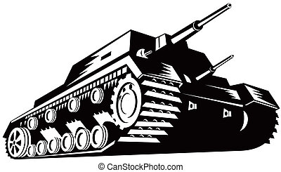 tanque, retro, exército