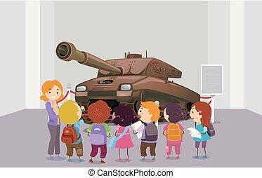tanque, stickman, museo, monumento conmemorativo, niños, ilustración