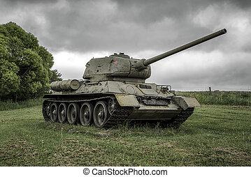 tanque, t-34, eslovaquia, ii, mundo, soviético, guerra