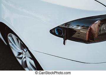 tanque, tesla, car, concept., taillight., automóvel