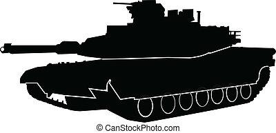 tanque, vector, -, contorno