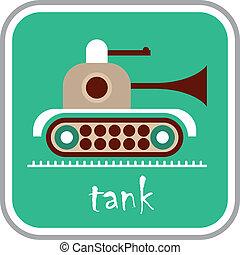 tanque, vetorial, -, ícone