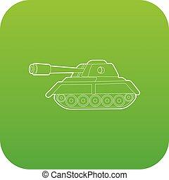 tanque, vetorial, verde, ícone