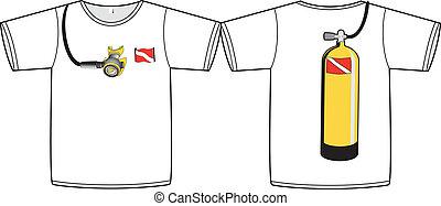 tanque, zambullida, diseño, camisa