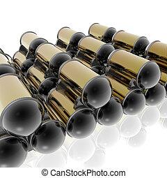 tanques de combustible, almacenamiento, con, reflexión, en, plano de fondo