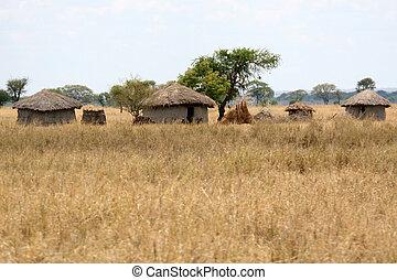 tansania, afrikas, national, -, hütte, schlamm, tarangire,...
