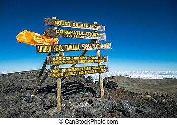tansania, kilimanjaro, aufstellen, spitze, uhuru