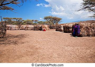 tansania, leute, afrikas, ihr, maasai, dorf