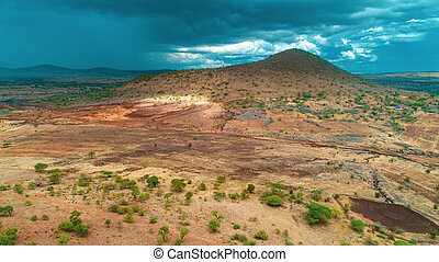 tansania, masaai, land, luftaufnahmen, landdcape