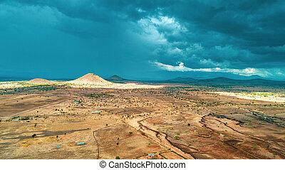 tansania, masaai, land, luftaufnahmen, landschaftsbild