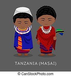 tansanier, national, kleidung, masai., flag.