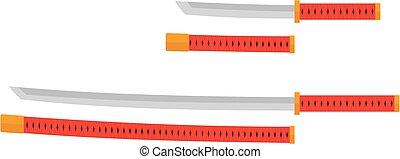 Tanto and katana with red handles