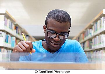 tanulás, ember, fiatal, könyvtár, afrikai
