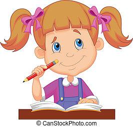 tanulás, kicsi lány, karikatúra