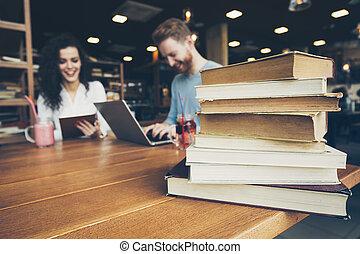 tanulás, párosít, könyvtár, boldog
