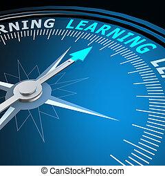 tanulás, szó, képben látható, iránytű