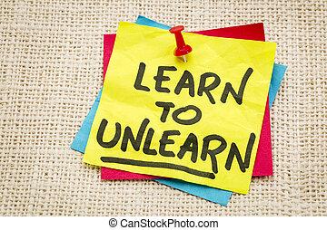 tanul, fordíts, unlearn, tanács