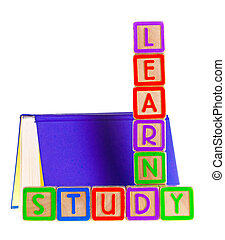 tanul, spelled, könyv, vonzalom, nyílik, ki