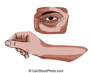 tanul, szem, kéz