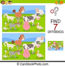 tanya, csoport, játék, különbség, állatok