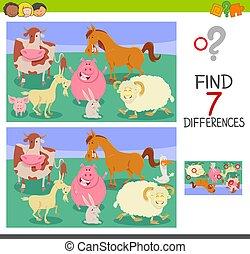 tanya, játék, különbségek, állatok, talál